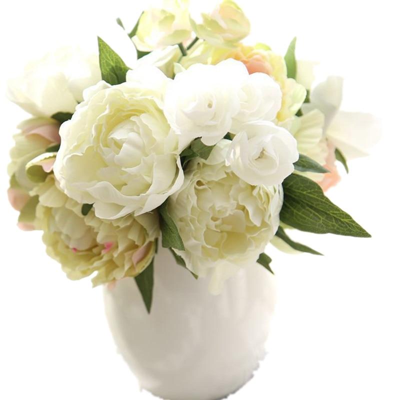 mesterséges virágok pünkösdi rózsa csokor Leaf Otthon és Esküvői Party műanyag hamis pünkösdi rózsa dekoráció mesterséges sárga pünkösdi rózsa fajták