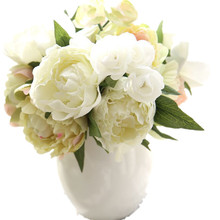 artificial peony flowers plant Leaf Home and Wedding Party plastic fake peonies decoration artificial yellow peonies varieties