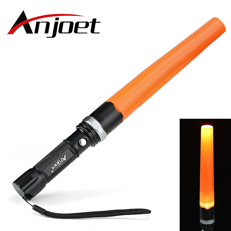 Anjoet XML T6 LED Aluminum Waterproof Zoomable Flashlight  Traffic Wand Torch Directing Light For 18650 Rechargeable Battery