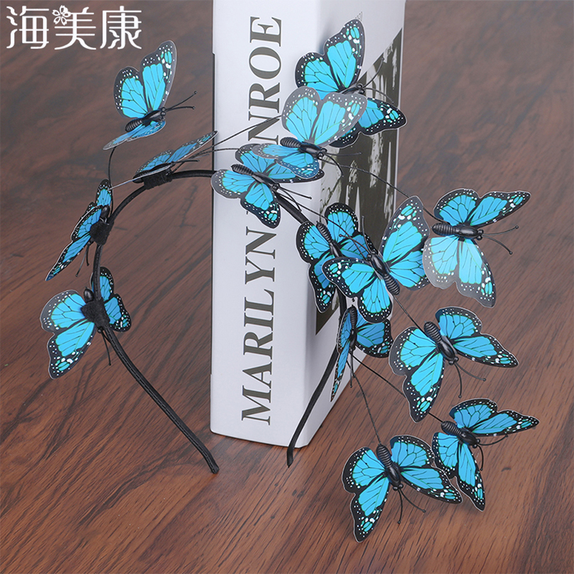 Haimeikang Handmade Blue Butterfly Headband Big Ladies Costume Hair Accessories Show Ladies Tea Show Hairband Headpieces