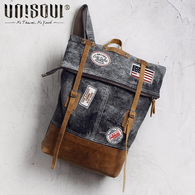 ФОТО UNISOUL 2016 NEW Patchwork Fashion Canvas Backpack of Men Travel Backpack Vintage retro male college bag Supreme Laptop Backpack