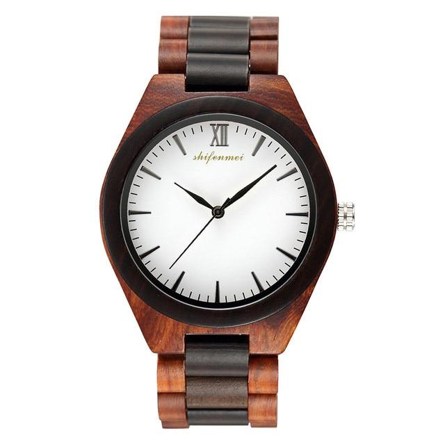 Reloj de madera para hombre erkek kol saati reloj de madera de lujo elegante reloj de cuarzo militar en madera de sándalo reloj masculino