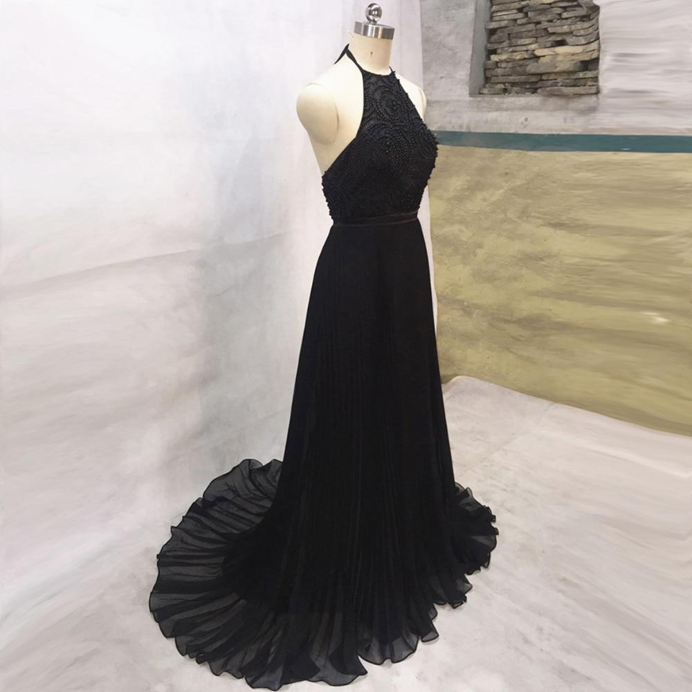 Довгі чорні вечірні сукні 2019 Довжина підлоги Сукня для вечірок Vestido De Formatura Сукні з бісеру Формальні вечірні сукні