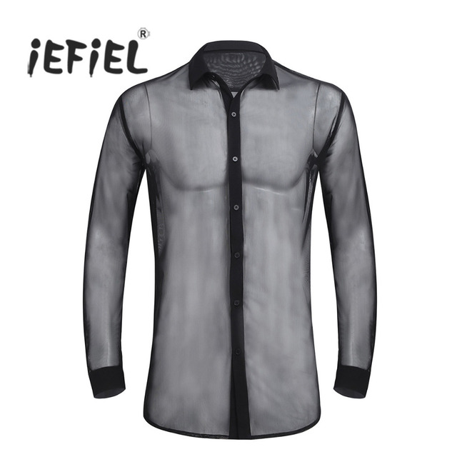 275582b5 iEFiEL Sexy Mens Fashionable See Through Mesh Long Sleeve Clubwear Soft Top  Shirt Wetlook Evening Party Clothing for Mens Shirts