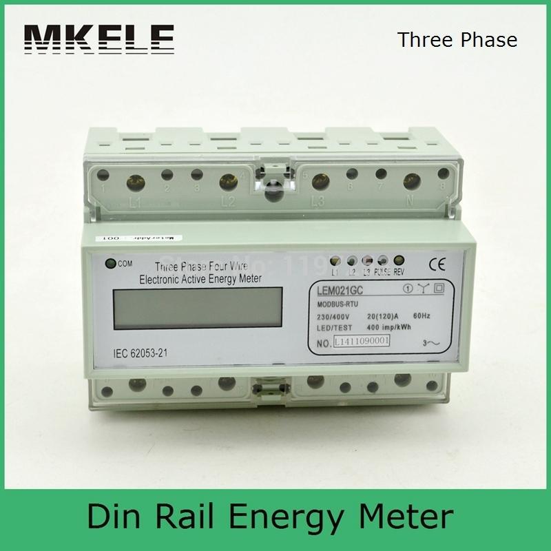 Mètre d'énergie triphasé portatif d'affichage à cristaux liquides de MK-LEM021GC de Rail de Modbus RTU Din