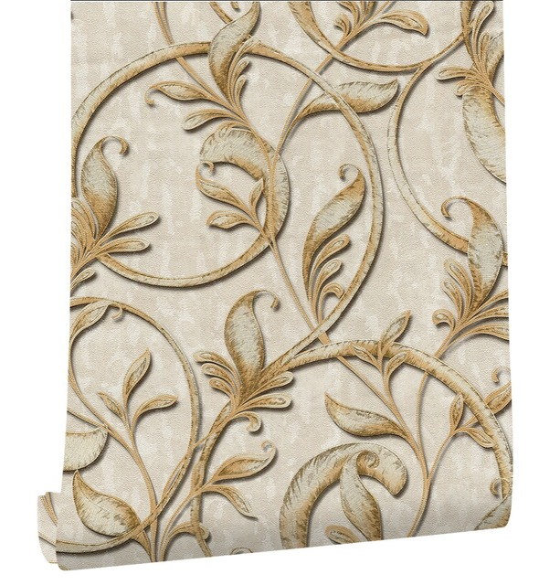 HaokHome Damask Wallpaper For Living Room Bedroom Embossed Texture Beige/Gold for Home Wall Decor
