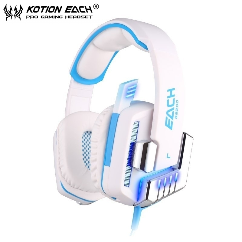 EACH G8200 Game Headphone 7.1 Surround USB Vibration Gaming Headset Headband Earphone with Microphone LED Light For PC Gamer