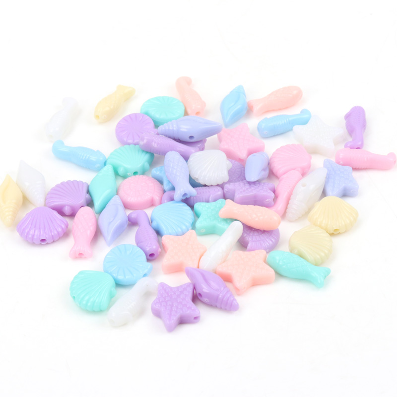 Spring Color Marine Life Acrylic Loose Beads For Jewelry Making Diy Wholesale 6-16mm 50pcs