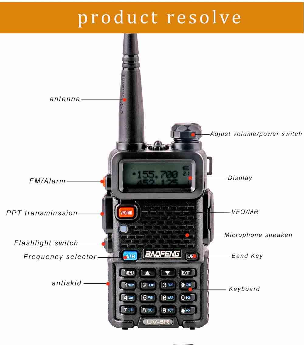 2Pcs BaoFeng UV-5R Walkie Talkie VHFUHF136-174Mhz&400-520Mhz Dual Band Two way radio Baofeng uv 5r Portable Walkie talkie uv5r (12)