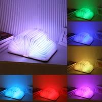 Free Shipping 7 Colorful Wood Turning Books Nightlight USB Rechargeable LED Folding Lamp Book Creative Fashion