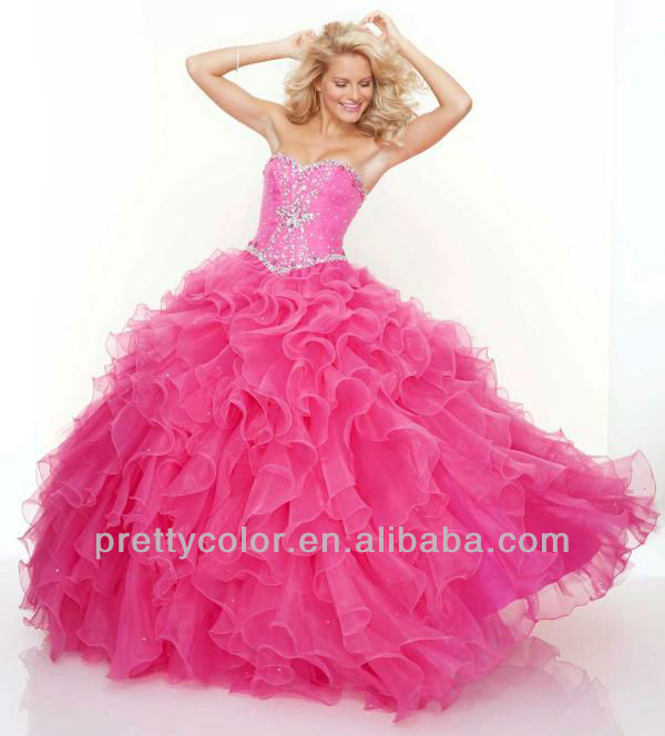 Hot Pink Sweetheart Organza Diamond Corset Ball Gowns Lace Up Ruffle ...