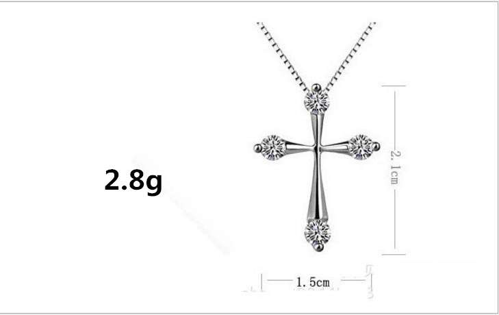 TJP AAA Crystal Cross Female Pendants Necklace For Women Wedding Party Top Quality 925 Sterling Silver Choker Necklaces Hot in Pendant Necklaces from Jewelry Accessories