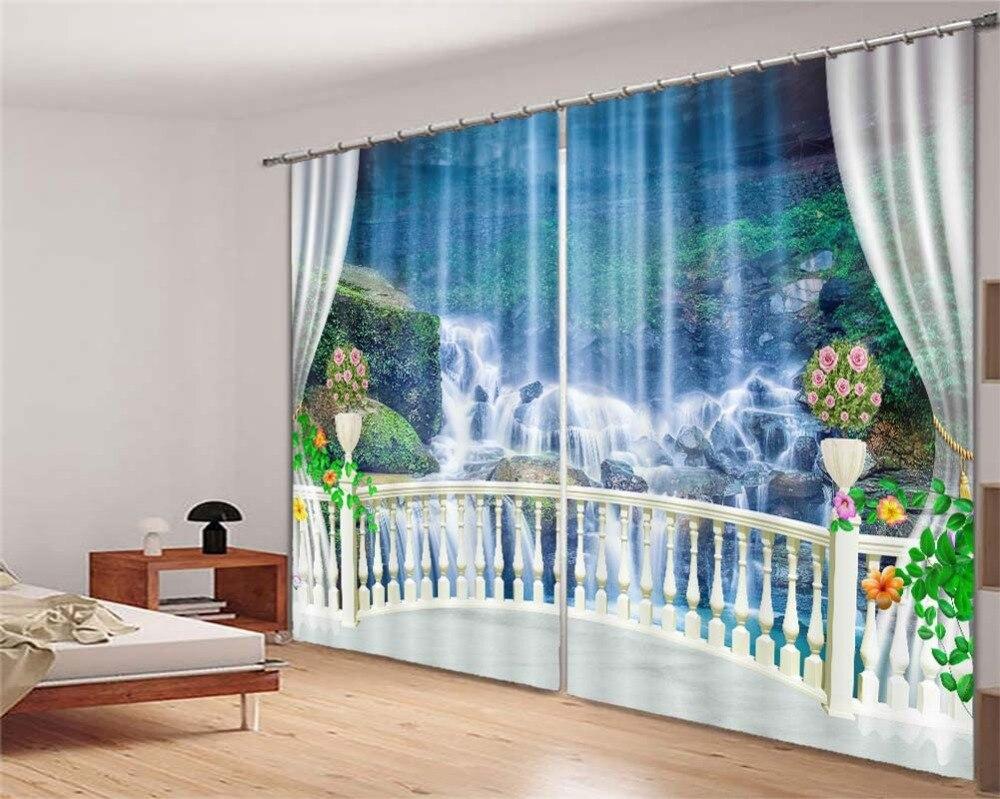 3D balcon cascade scénique 3D rideaux pour chambre enfants salon rideaux tissu Polyester ensemble avec crochets