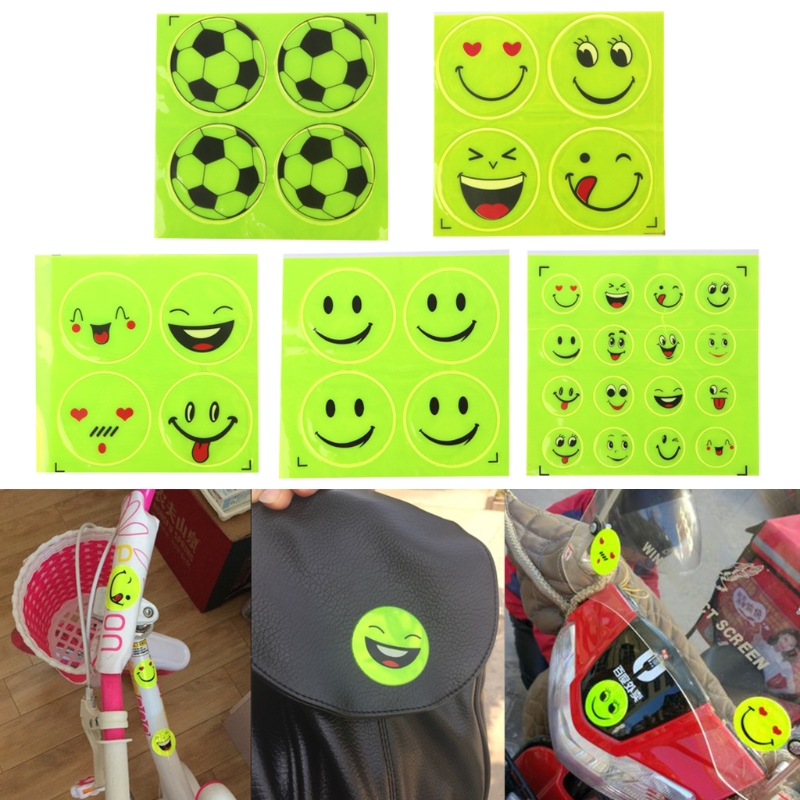 Funny Reflective Bicycle Bike Sticker Smiling Face Pattern Safety Night Riding Decal Night Riding Sticker decoration accessories