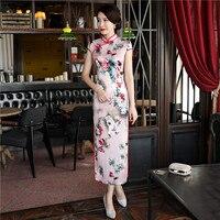 Yeni Varış Pembe Ipek Eski Baskı Çiçek Ince Uzun Cheongsam Artı Boyutu 4XL Geleneksel Çin Kadın Elbise Bayan Zarif Qipao