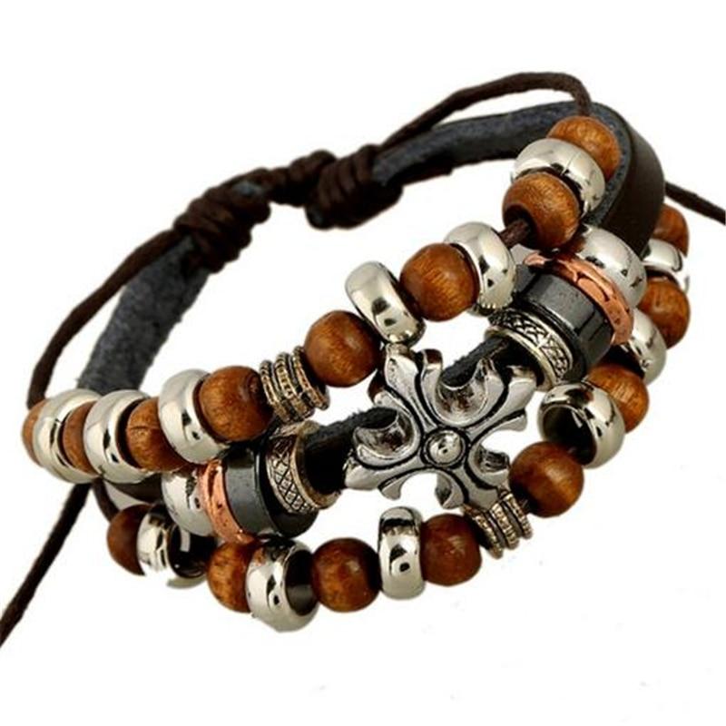 Vintage rope leather mens bracelets leather rope hand woven bracelet for men rope braided bracelet male female bracelet Jewelry