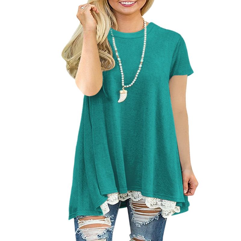New hot European and American fashion round neck lace solid color casual short sleeved women 39 s T shirt in T Shirts from Women 39 s Clothing