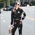 2016 Autumn Runway Designer Pants Suit Set Women's Fashion Long Sleeve Embroidery Bomber Jacket+Flare Pants Set 2 Piece Sets