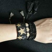 SHINUSBOHO negro Punk cuentas pulseras MIYUKI joyería hombres pulsera oro corazón encanto amistad pulseras para mujer regalo