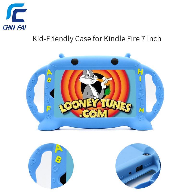 Chinfai Shockproof Silicone Kid Case for Kindle Fire 7 Inch 2015 Kid Friendly Handle Stand Soft Case for Kindle Fire 7 for amazon 2017 new kindle fire hd 8 armor shockproof hybrid heavy duty protective stand cover case for kindle fire hd8 2017
