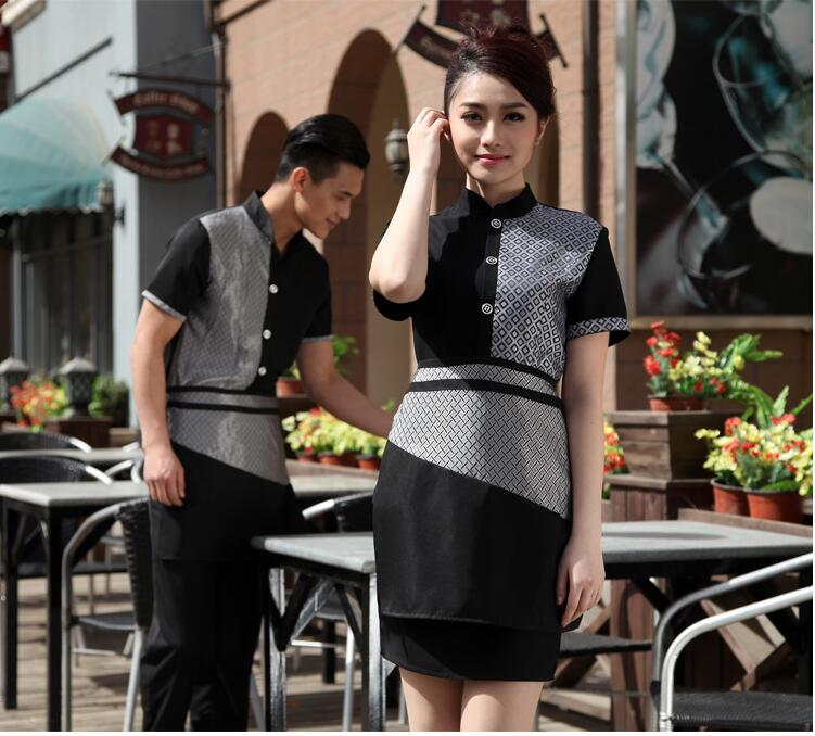 2017 Coffee Shop Waiter Uniform Hotel Food Service Waitress Uniform Milk Tea Shop Waiter font b