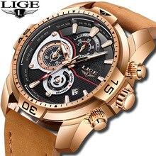 купить LIGE New Men Watches Top Brand Luxury Leather Quartz Clock Man Sport Waterproof Clock Fashion Gold Watch Men Relogio Masculino дешево