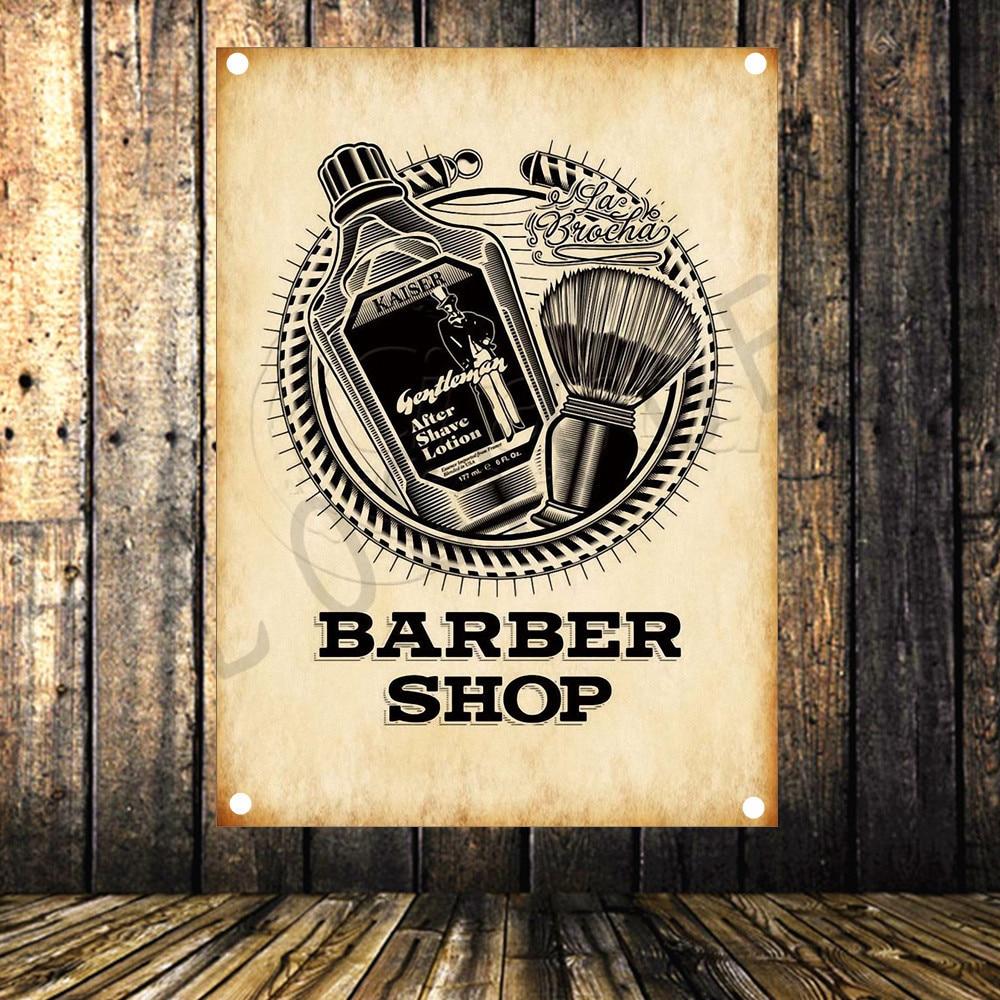 Barbershop Poster Banners Opknoping Pictures Art Waterdicht Doek Kapsalon Schoonheidssalon Kapper shop Muur Decor Een Brede Selectie Kleuren En Motieven