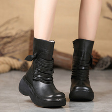 Autumn and winter new womens shoes leather short boots thick with manual waterproof fashion casual