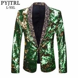 PYJTRL Mannen Plus Size Double-Kleur Groen Blauw Zilver Goud Rood Zwart Pailletten Blazer Zanger Kostuum Prom Bruiloft Pak jas Outfit