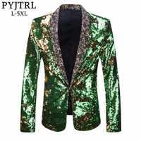 PYJTRL Men Plus Size Double-Color Green Blue Silver Gold Red Black Sequins Blazer Singer Costume Prom Wedding Suit Jacket Outfit