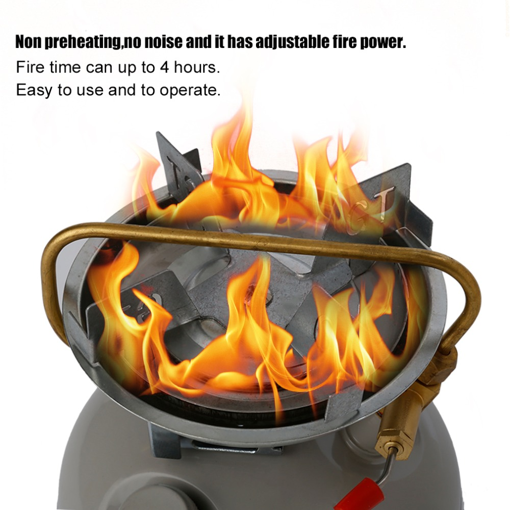 Portable Windproof Outdoor Camping Picnic Gasoline Stove Non Preheating No Noise Oil Furnace Burners Petrol Stove Cook Tool Hot