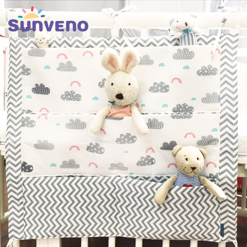 Crib Baby Bed bumper Hanging Storage Bag Multi-functional Baby Cot pocket Hanging Storage Bag Baby Bedding Bumper 55*60cm