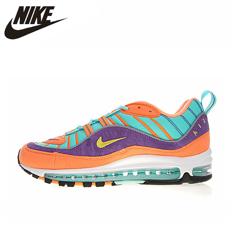 online store dbee5 db72e NIKE AIR MAX 98 QS Men's Running Shoes,Non slip Blue & Purple & Orange,  Shock Absorption Breathable Wear resistant 924462 800-in Running Shoes from  Sports ...