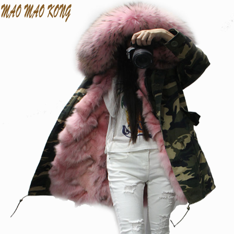 2017 winter jacket women's Camouflage coat real raccoon fur collar coat detachable warm real fox fur liner parkas tops hoody 2017 winter new clothes to overcome the coat of women in the long reed rabbit hair fur fur coat fox raccoon fur collar