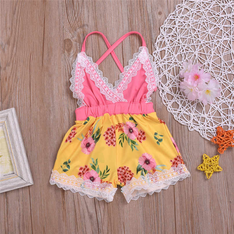 Toddler Kids Baby Girl Sleeveless Backless Floral Lace Strap Romper Jumpsuit One Pieces Outfits Summer Clothes onesie summer L13