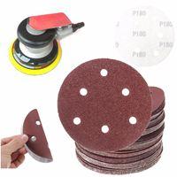 50Pcs Set 150mm 6 Holes Sanding Disc Red Brown 40 60 80 100 120 180 240