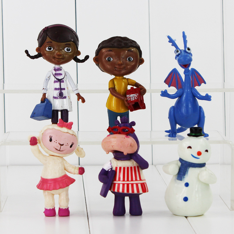 New Doc McStuffins 6pcs/lot Doctor And Friend Girls & Dragon & Sheep & Hippo 7-10cm Action Figure Toys Kids Gift