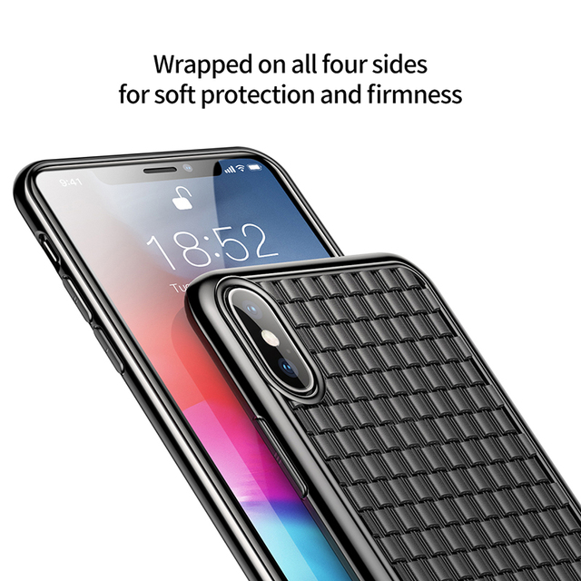 Baseus iPhone XS XS Max XR Luxury Grid Weave Soft Silicone TPU Back Case Cover