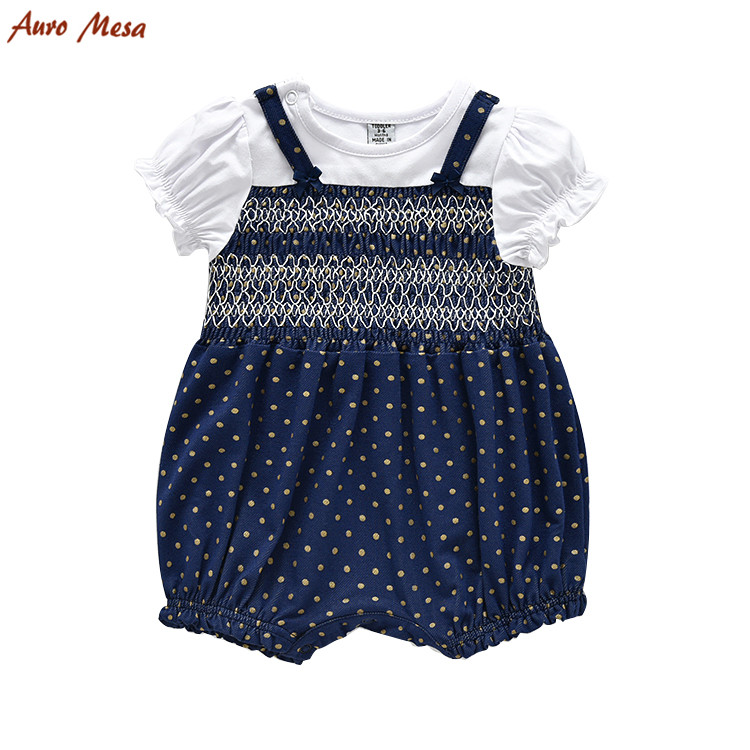 Summer Baby Girl Romper Short Sleeve Polka Dot Baby one piece Clothes Jumpsuit Newborn baby Jumper