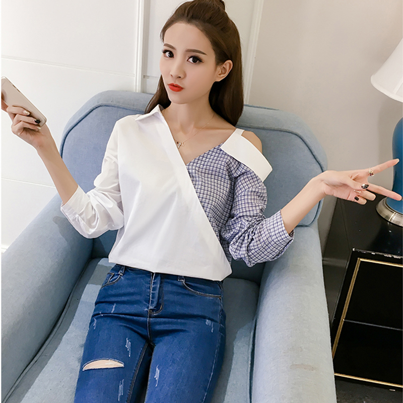 bc41012cf62353 DoreenBow New Plaid Spliced Blouse Tops Women Fashion Trun down Collar Long  Sleeve One Shoulder Off Sexy White Shirts, 1 Piece-in Blouses & Shirts from  ...