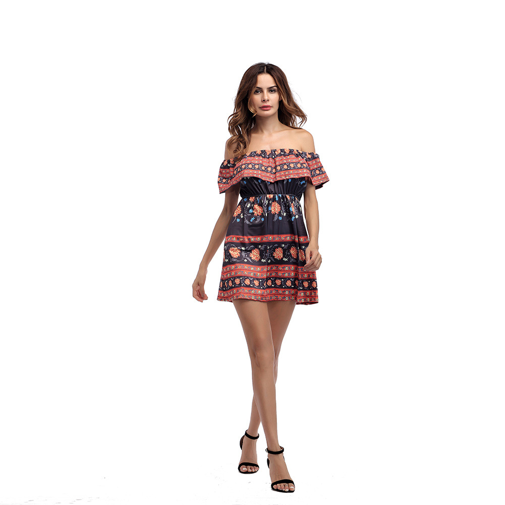 3f2324c0e383 2018 Sexy Ruffles Bohemia Style Women Summer Off Shoulder Sleeveless Falbala  Short Dress Print Beach Mini Dress-in Dresses from Women's Clothing on ...