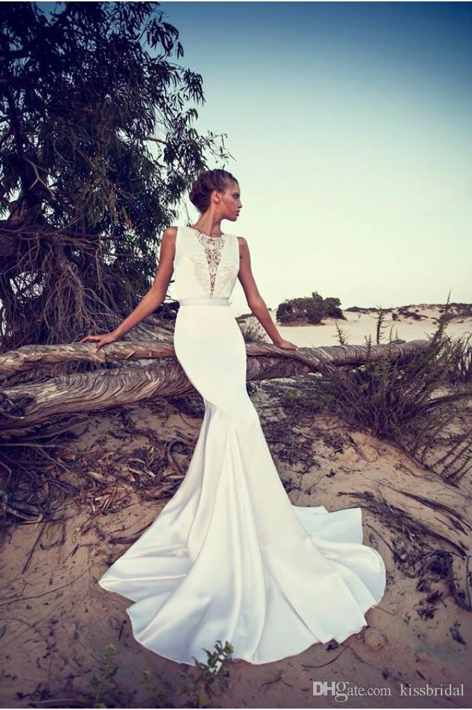 2015 Liz Martinez Wedding Dresses Sexy Boho Lace Bateau Neck Backless Mermaid Satin Court Train Beach Bridal Gowns in Mother of the Bride Dresses from Weddings Events