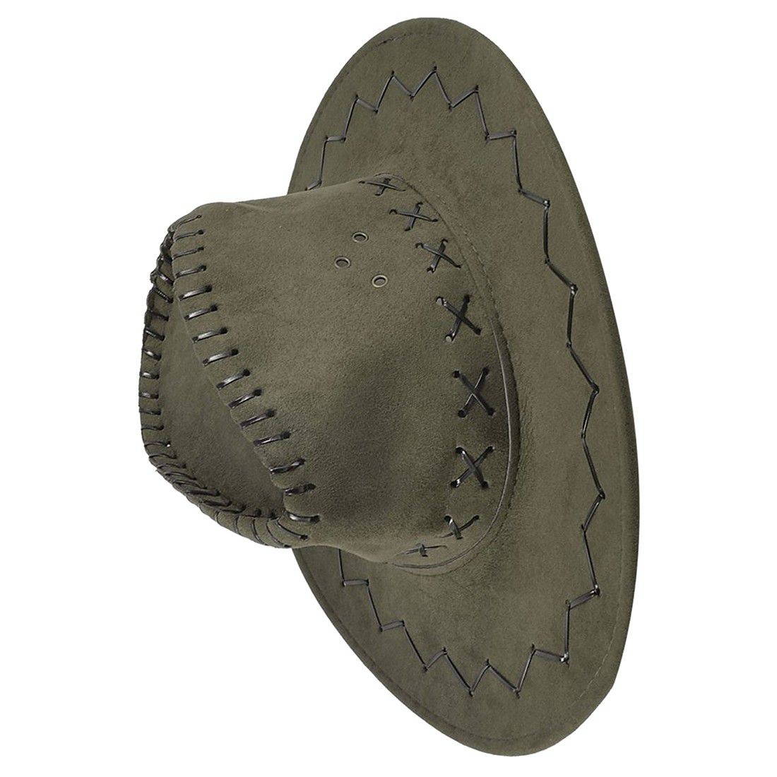 Adjustable Chin Strap Faux Leather Cowboy Hat Army Green for