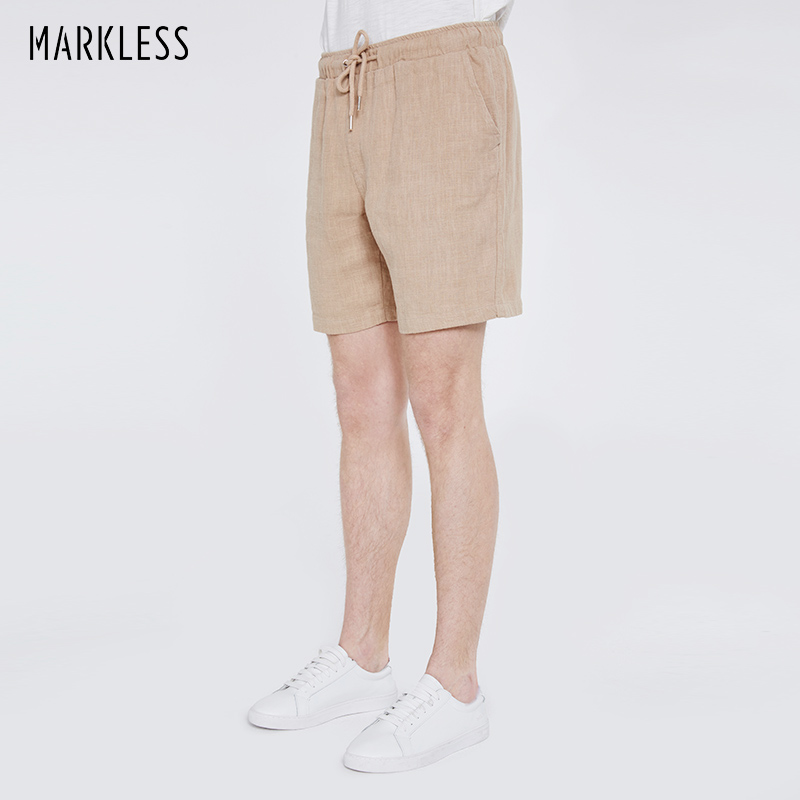 Markless 2018 Summer Beach Shorts Men Fashion Casual Straight Men Shorts Breathable Ramie Shorts bermuda masculina DKA8903M