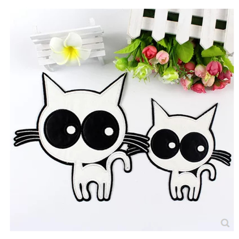 White Cat DIY Craft Cloth Badges Patch Embroidered Applique Sewing On Clothes Stickers Apparel Accessories in Patches from Home Garden