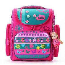 Delune 2015 New European Children School Bag Girls Boys Backpack Cartoon Mochila Infantil Large Capacity Orthopedic Schoolbag