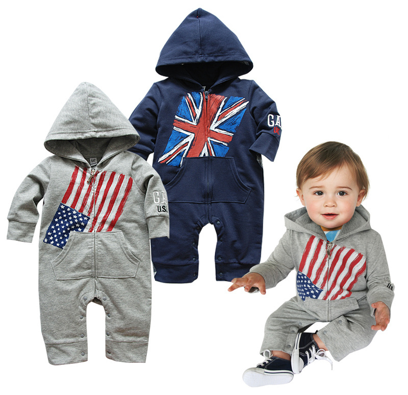 5b27b93ee44f Free shipping Ti Ti Kids American flag design romper UK flag rompers baby  boy outfits with hats christmas outfits toddler