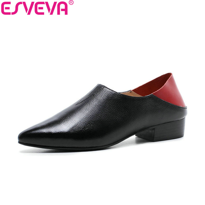 ESVEVA 2018 Women Pumps Western Style Pointed Toe Cow Leather PU Square Heels Slip on Shallow Low Heels Ladies Shoes Size 34-39 esveva 2018 women pumps elegant butterfly knot pointed toe square high heels pumps suede slip on pumps women shoes size 34 39