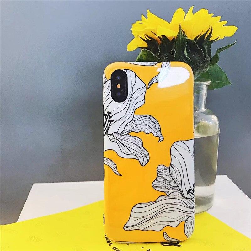 Yellow Art Floral Iphone 7 7Plus 6 6Plus Case Lotus Flower Iphone 6S 6 S Plus 8 8Plus X Soft TPU Cover