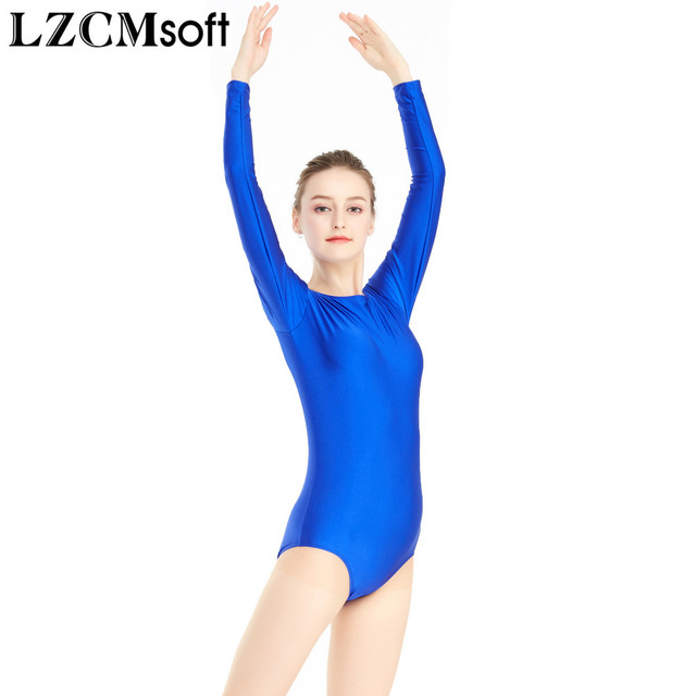 5b93c85e1428 LZCMsoft Women s Crew Neck Long Sleeve Leotards Ballet Spandex ...